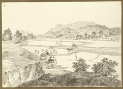 D'Oyly's party in pony cart and palanquin crossing the Damoda River between Angwali and Gumia (Bihar). 10 February 1823